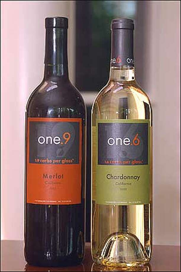 New low-carb wines named for the carbohydrates per 5-ounce glass -- One.9 Merlot and One.6 Chardonnay -- are shown in Louisville, Ky. The wines are to be introduced nationally by Brown-Forman starting around Memorial Day. (AP Photo/Brian Bohannon) Photo: Associated Press / Associated Press