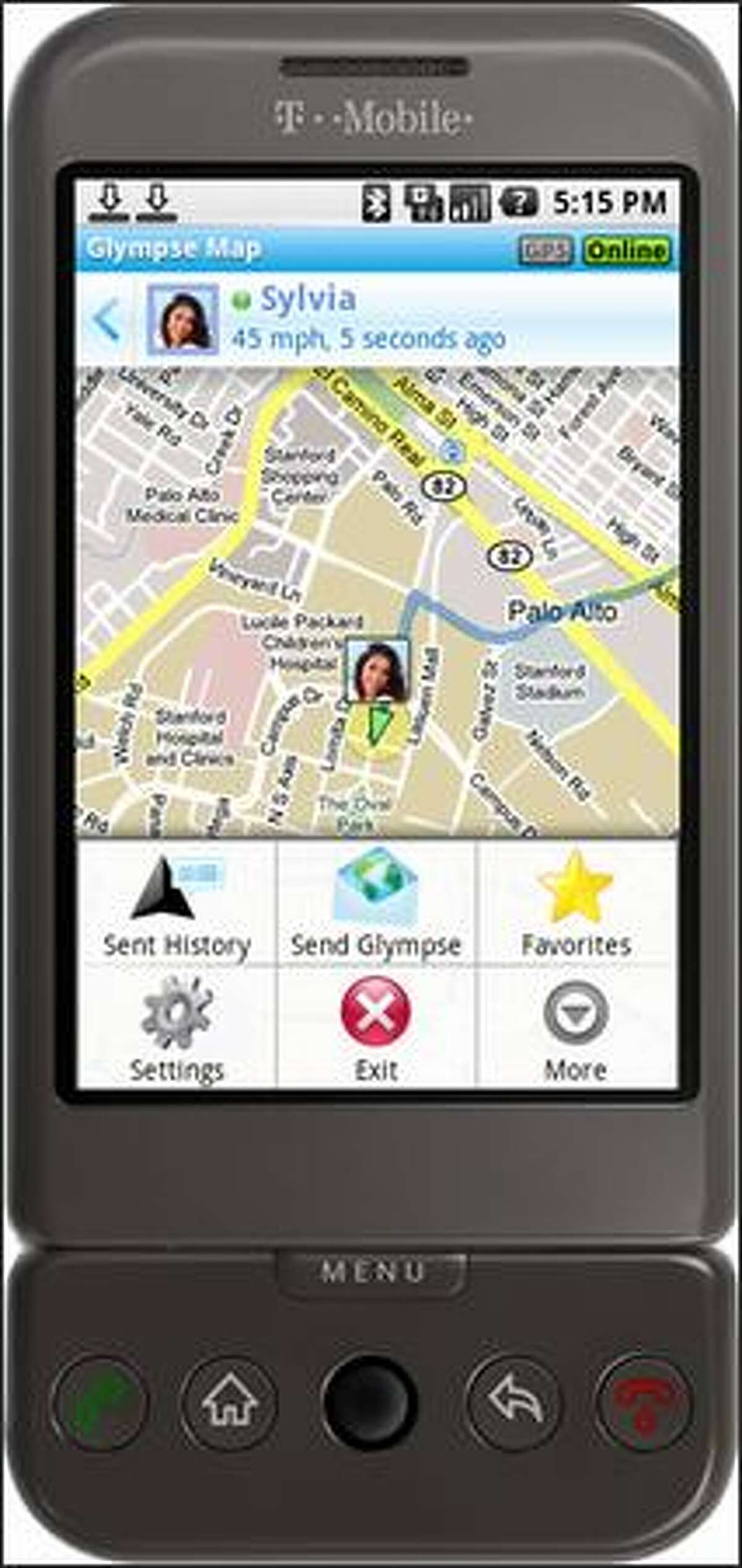 In this image provided by Glympse Inc., an rendering of what the Glympse application looks like on T-Mobile's G1 Android phone is shown. (AP Photo/Glympse Inc.)