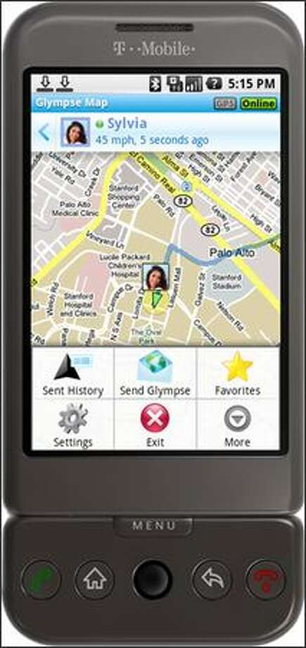 In this image provided by Glympse Inc., an rendering of what the Glympse application looks like on T-Mobile's G1 Android phone is shown. (AP Photo/Glympse Inc.) Photo: Associated Press / Associated Press