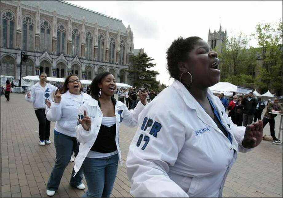 Zeta Phi Beta Sorority Inc. members Shaonta Allen, front, followed by Latasha Green, Lekeisha Harding and Natalie Hart, dance in Red Square on Tuesday as part of a program celebrating 40 years of diversity on the University of Washington campus. Photo: Meryl Schenker, Seattle Post-Intelligencer / Seattle Post-Intelligencer
