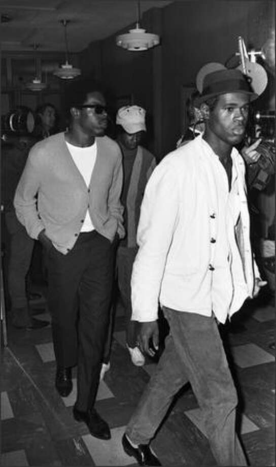 King County Council member Larry Gossett, pictured in sunglasses, also graduated from Franklin (in 1963). Gossett is pictured in 1968, with other members of the UW Black Student Union during a sit-in at the college.  Photo: Seattle P-I/MOHAI / Seattle P-I/MOHAI