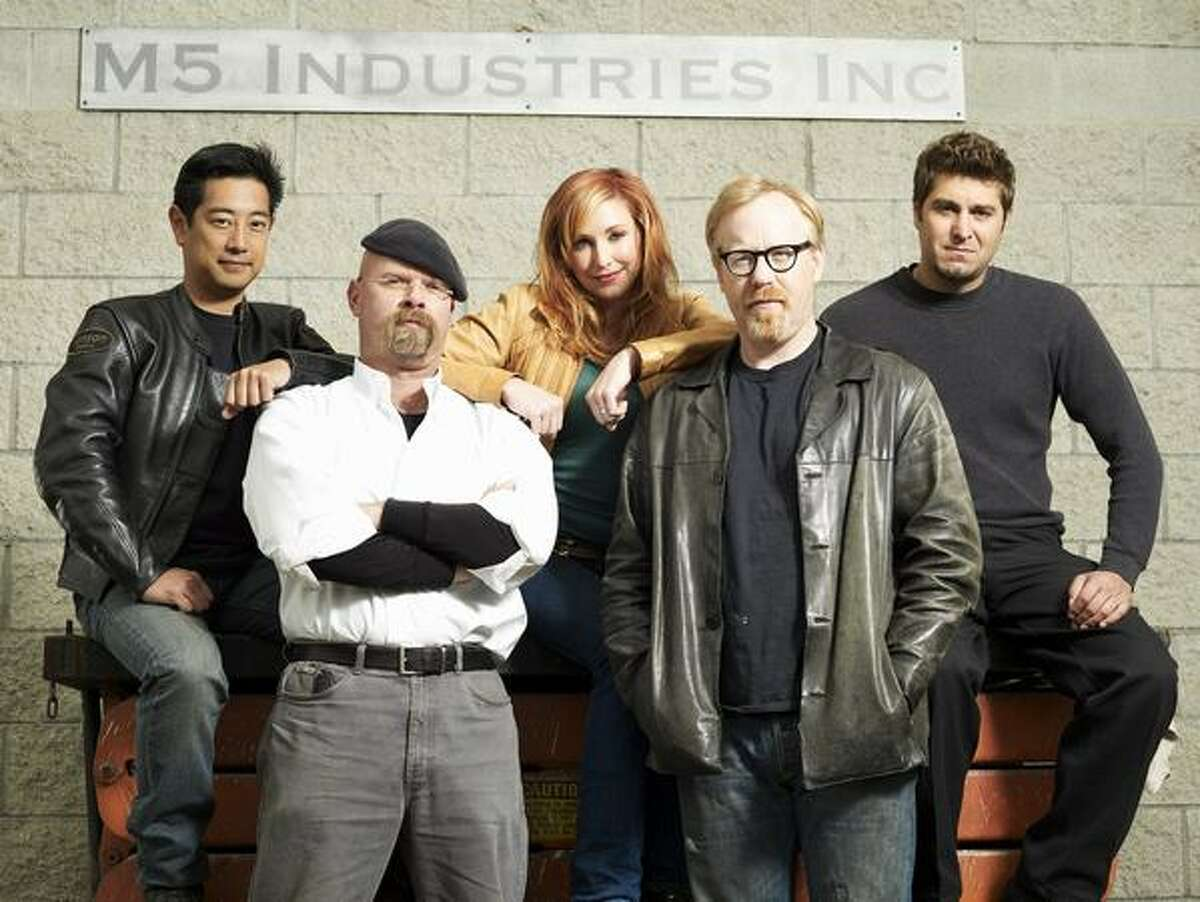 """From left, the cast of Discovery's """"MythBusters"""": Grant Imahara, Jamie Hyneman, Kari Byron, Adam Savage and Tory Belleci at the show's headquarters, the Hyneman-owned M5 Industries in San Francisco."""