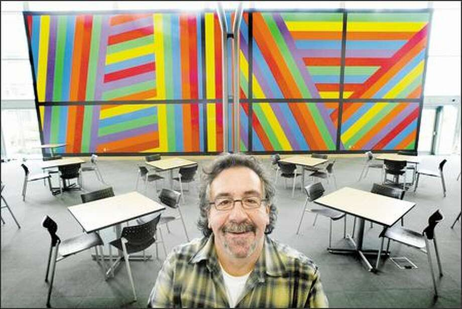 "Microsoft art curator Michael Klein gave techies something else to chew on in a cafeteria with Sol Le Witt's giant abstraction, ""1,000."" Photo: Dan DeLong, Seattle Post-Intelligencer / Seattle Post-Intelligencer"