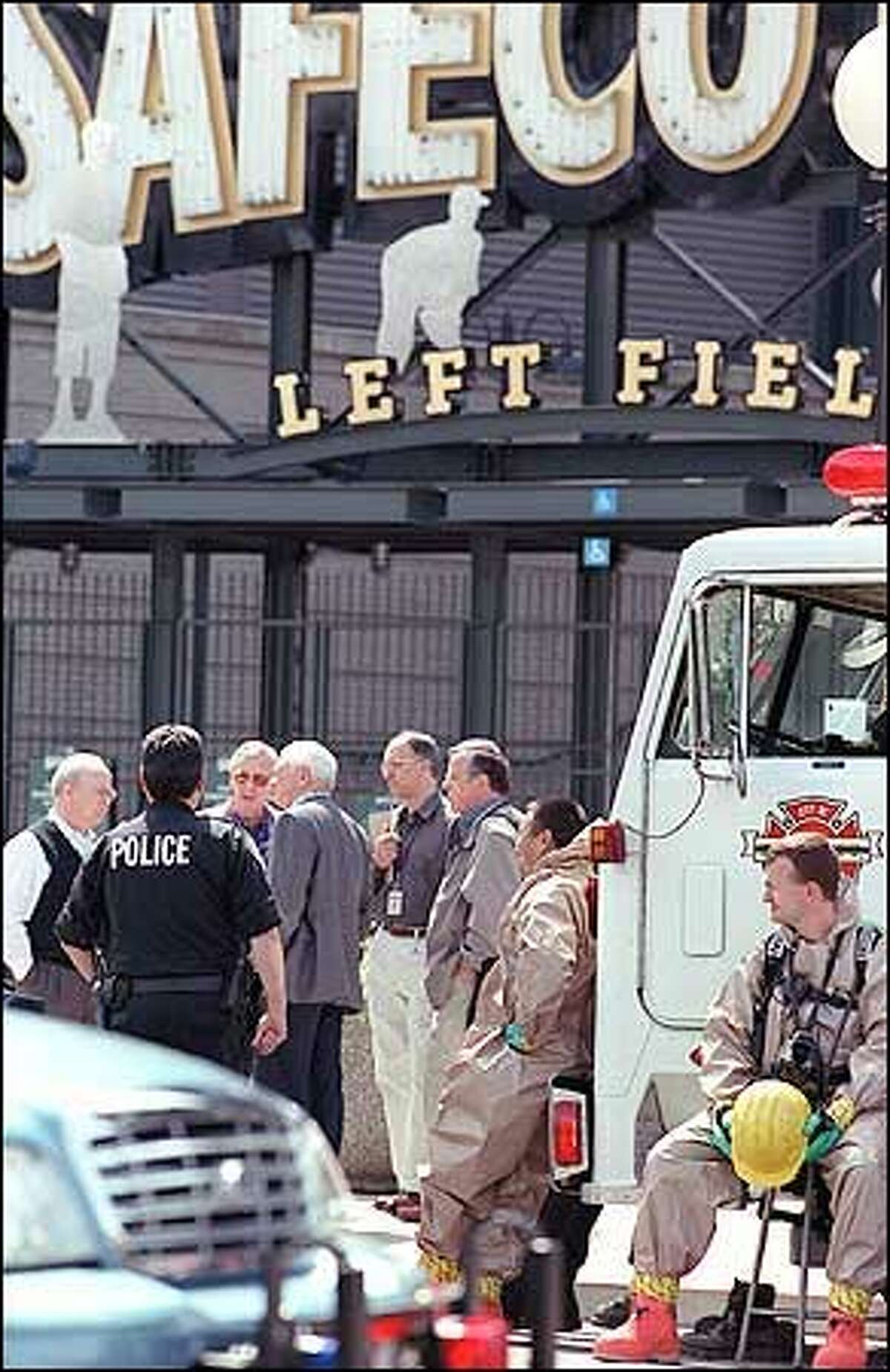 Visitors wanting to tour Safeco Field were turned back by Seattle police and firefighters Friday morning after an attempt to drop the cremated remains of a Seattle Mariners fan over the open playing field.