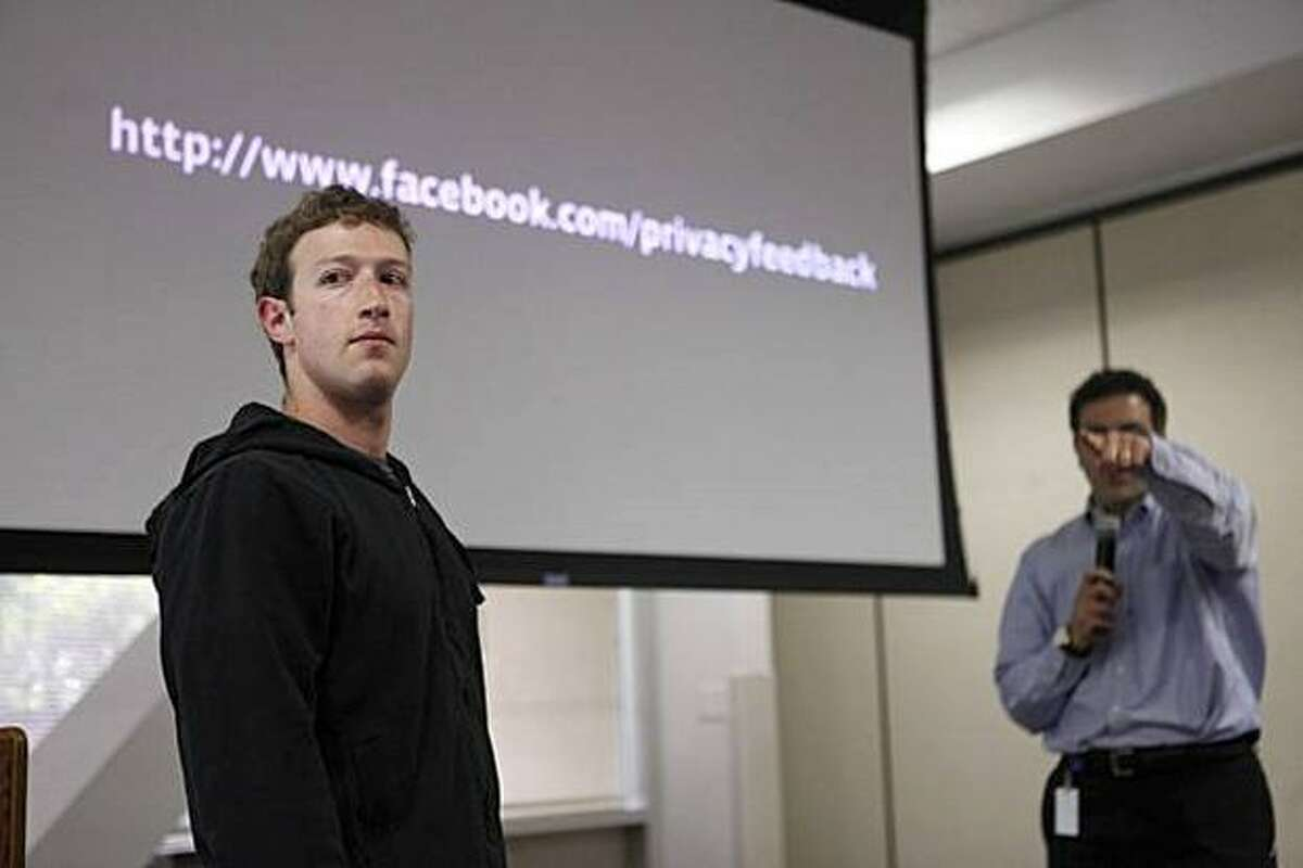 Facebook founder and CEO Mark Zuckerberg takes questions from the media during a press conference at Facebook headquarters in Palo Alto, Calif., announcing changes to the social networking site's privacy settings on Wednesday.