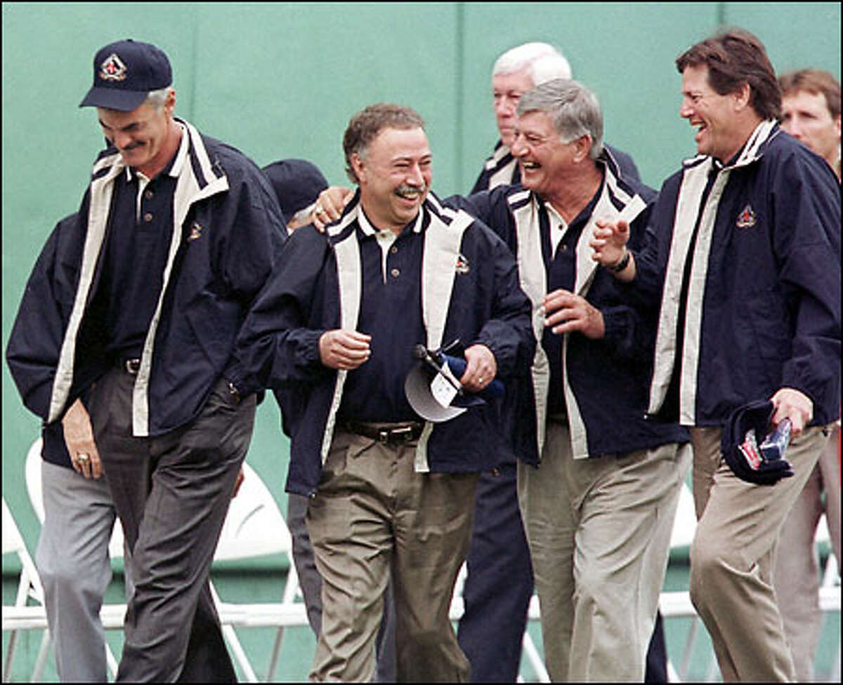 Former Red Sox stars, from left, Dwight Evans, Jerry Remy, Carl Yastrzemski and Carlton Fisk share a laugh at Fenway Park.