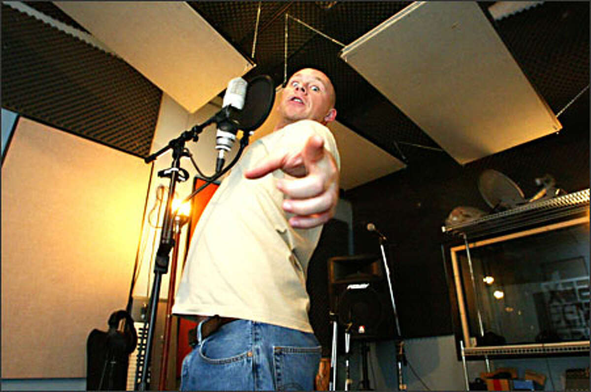 Buddy Wakefield, the 2004 Individual World Poetry Grand Slam Champion, uses one of the studios at Static Factory on Capitol Hill, where he's working on his second CD.