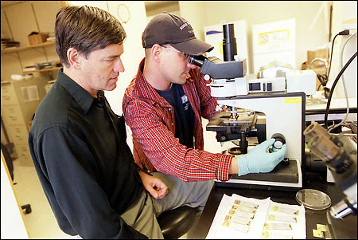 Ken Stuart, left, founder of the Seattle Biomedical Research Institute, and Jason Wendler, a research technician, examine red blood cells infected with malaria. The lab will move to bigger facilities on Westlake Avenue North.