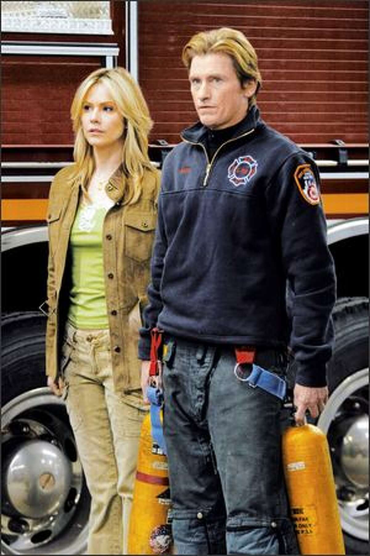 Andrea Roth and Denis Leary are wife and firefighter in