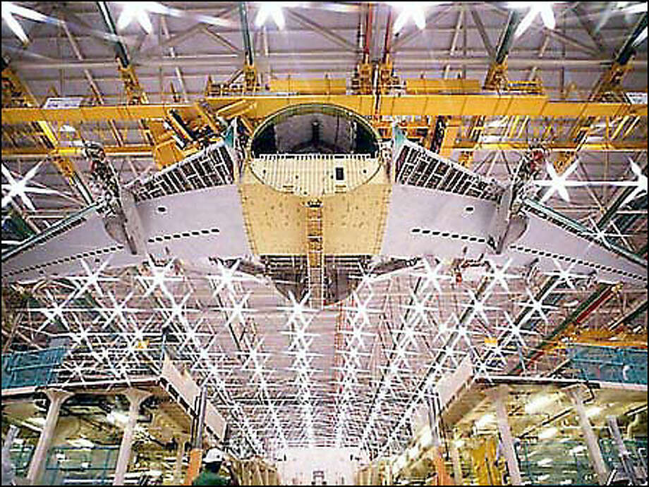 Boeing will build its long-range jets at its wide-body assembly plant in Everett. Shown here is a 777-200 under construction. Photo: The Boeing Company / The Boeing Company