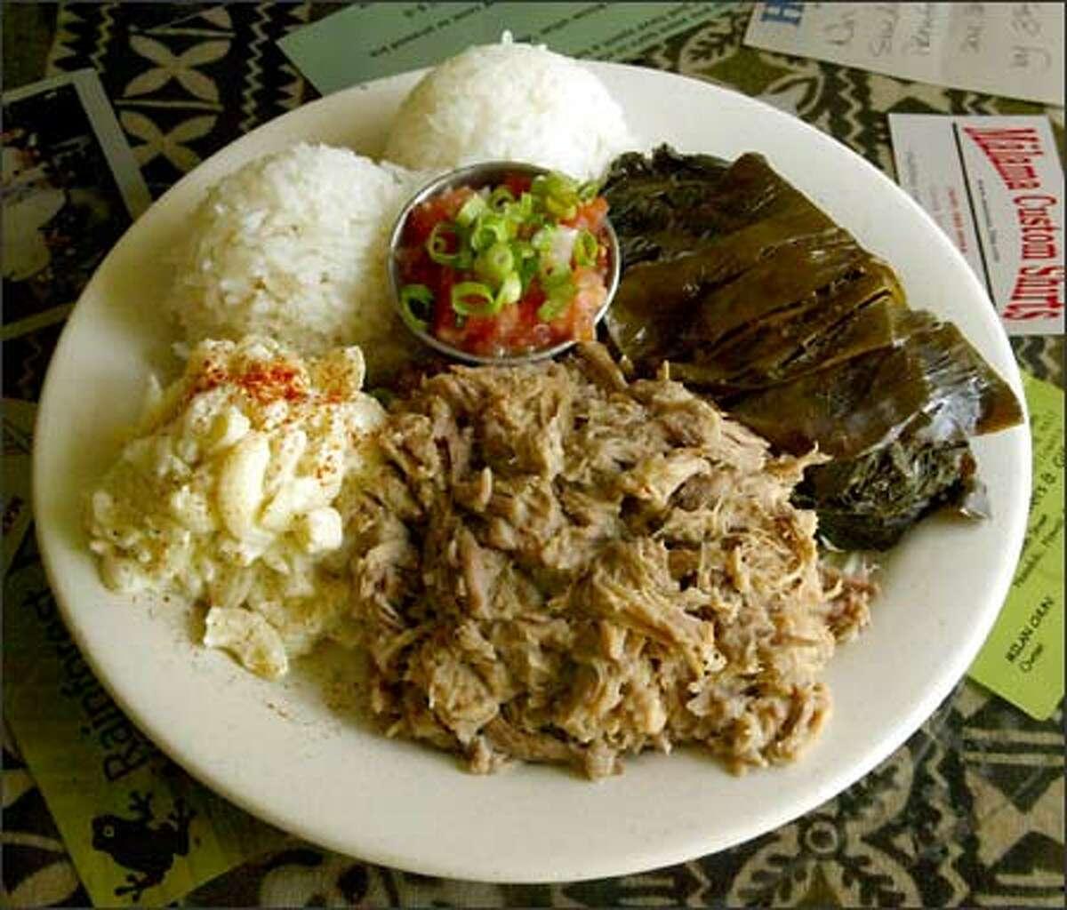 The Combination Lau Lau/Kalua Pork/Lomi Salmon plate at Kauai Family Restaurant is a Hawaiian treat.