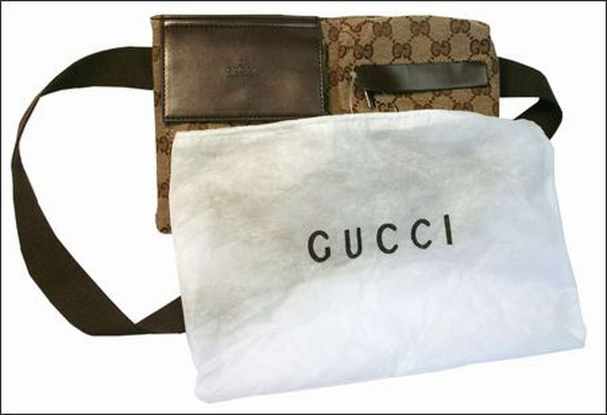 A fake Gucci fanny pack. Gucci would NOT use a flimsy dust cover like this. Gucci logo is also poorly printed on the dust bag.