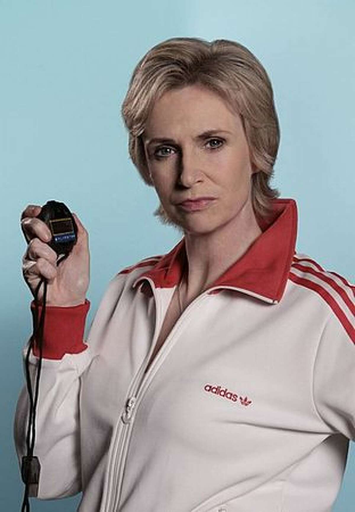 """Jane Lynch is Sue, the cheerleading coach, in """"Glee."""""""