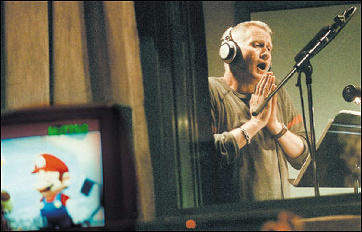 Actor Charles Martinet becomes the voice of video game character Mario at the EarForce recording studio in Seattle.