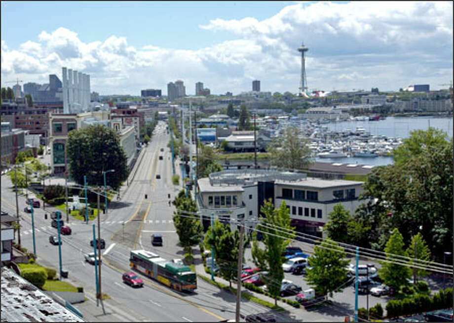 The proposed route for the new South Lake Union trolley would come up Fairview Avenue and turn around near Eastlake Avenue, lower center. Photo: Grant M. Haller, Seattle Post-Intelligencer / Seattle Post-Intelligencer