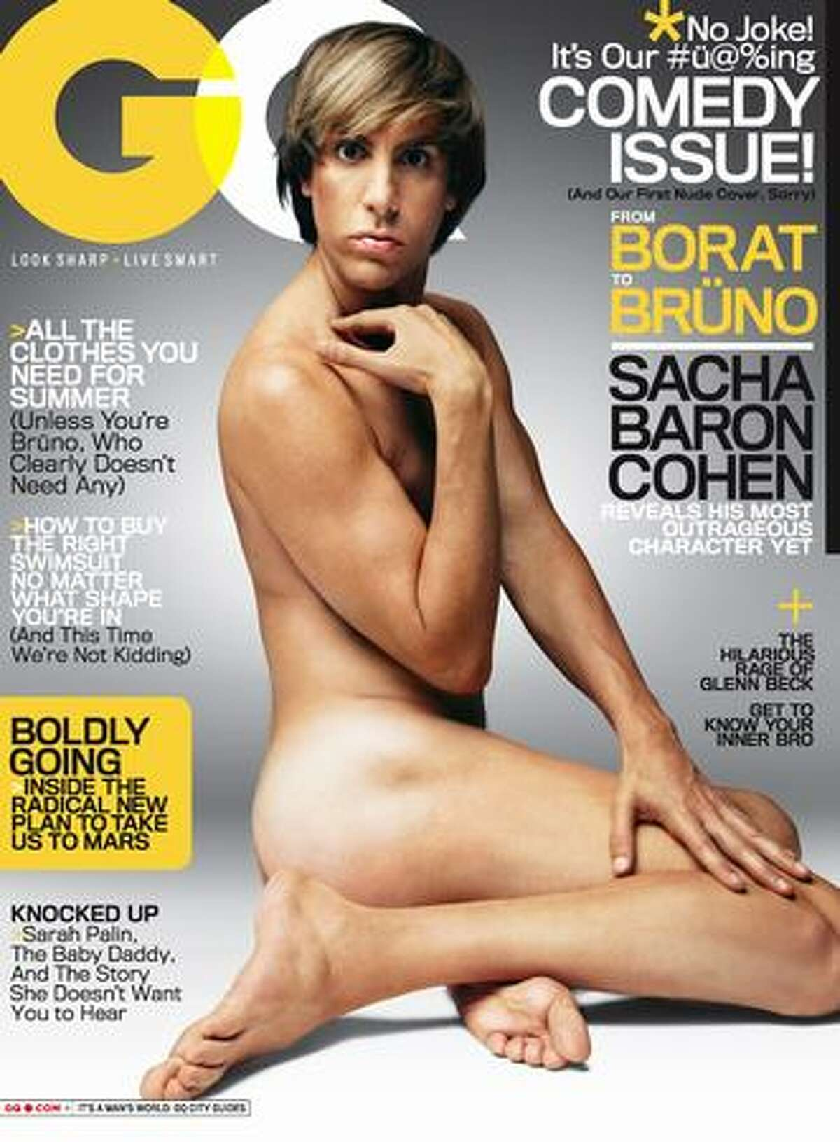 In this image released by GQ Magazine, Sacha Baron Cohen, as the character Bruno, is shown on the cover of
