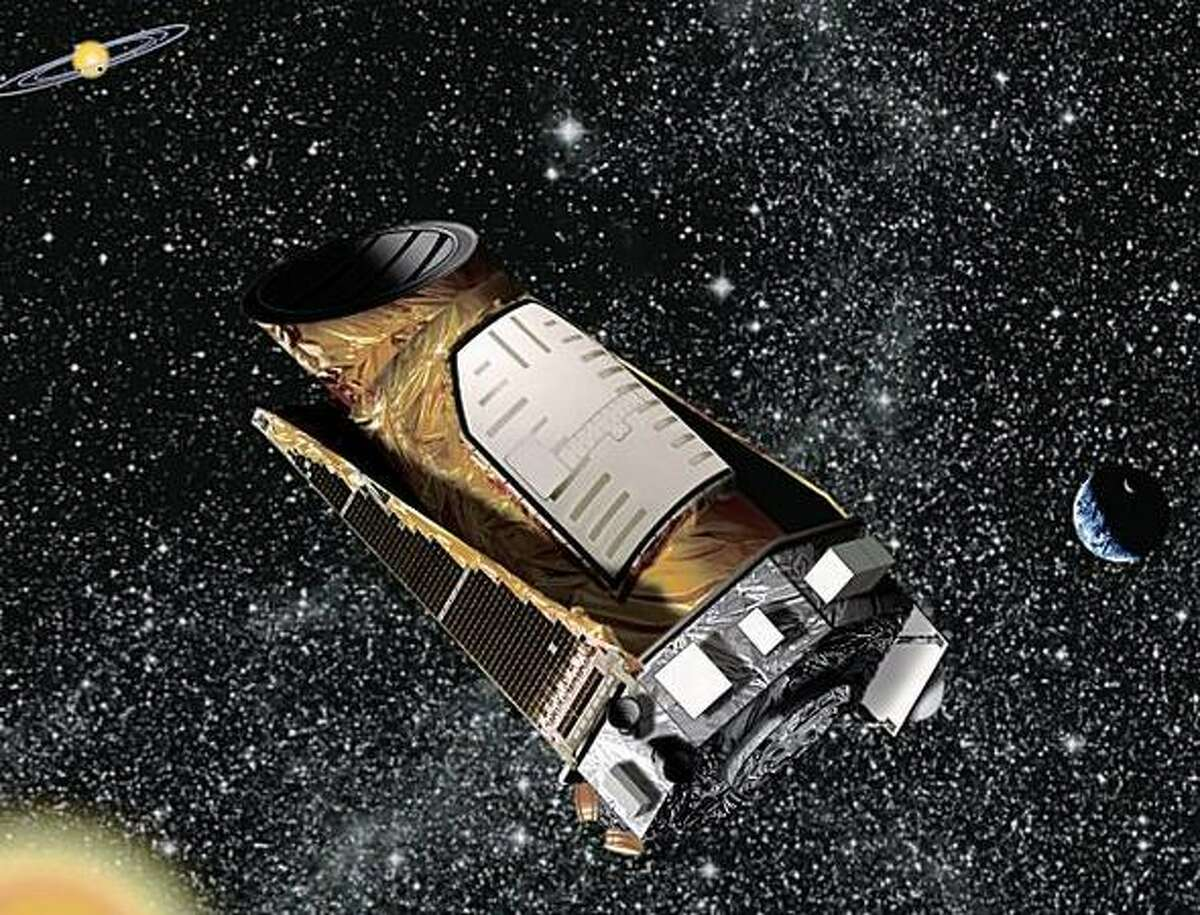 Artist rendering of NASA's Kepler space telescope. The mission will spend three and a half years surveying more than 100,000 sun-like stars in the Cygnus-Lyra region of our Milky Way galaxy.
