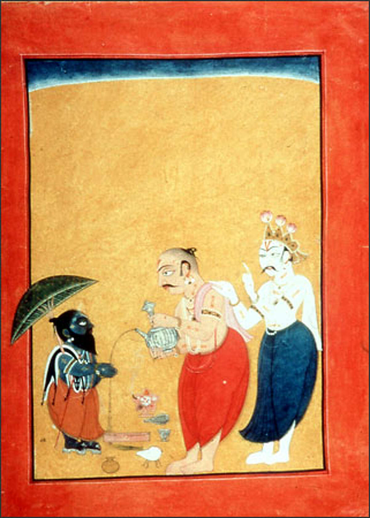 The god Vishnu, disguised as Vamana the dwarf, attempts to trick the demon king Bali despite the protestations of Shukra, Bali's guru and adviser, in an opaque watercolor, gold and silver-colored paint on paper miniature from circa 1700-1725.