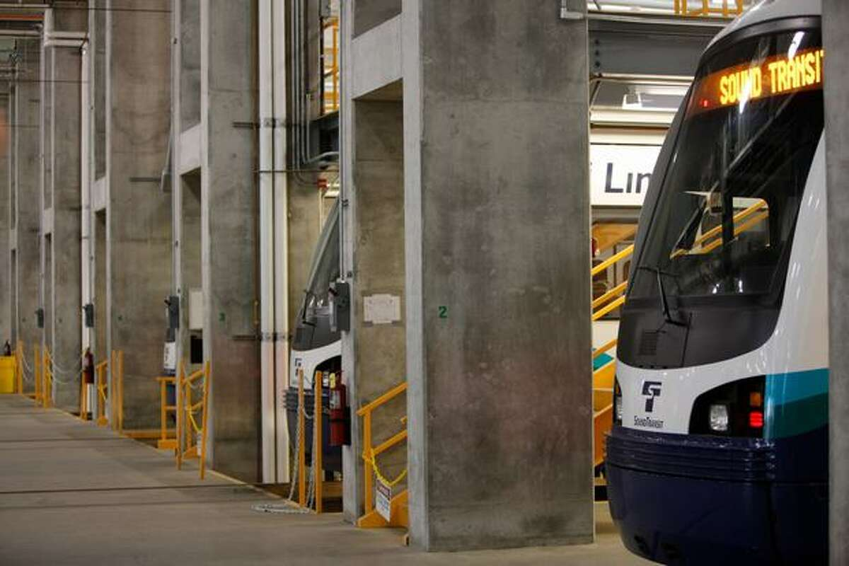 Several cars can be maintained at once at the Light Rail Link Operations and Maintenance Facility in Seattle Wednesday.