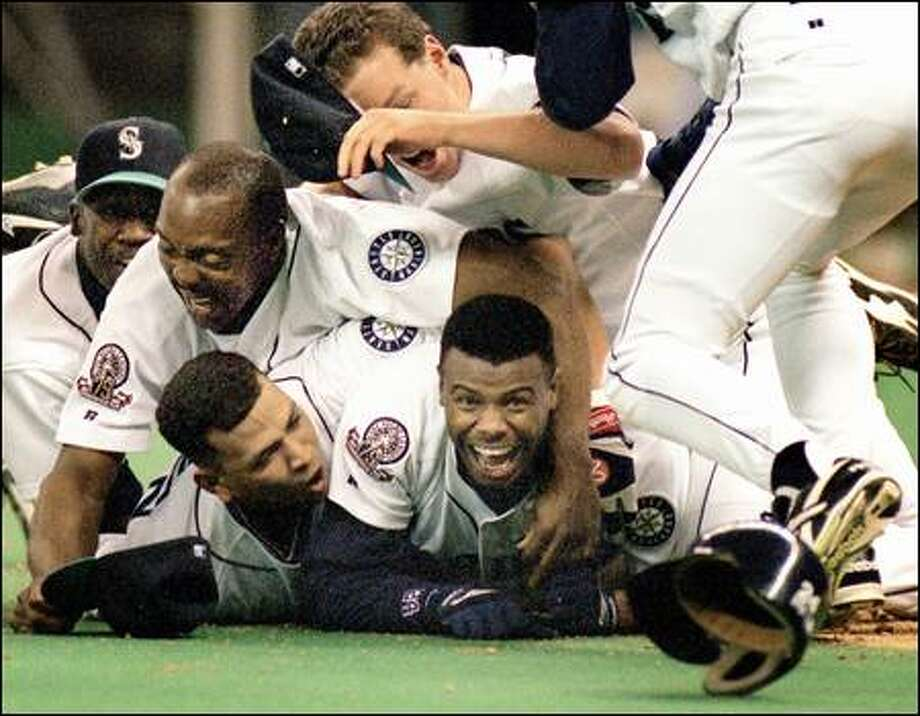 Ken Griffey Jr. Then  – Already a five time All-Star and gold glove winner by 1995, Griffey  was poised to have another standout season in center field, but a broken  wrist in June would sideline him for almost half the season. Still,  Junior managed to finish the season with 17 home runs and 42 RBIs, to go  along with a sixth straight gold glove and All-Star appearance. But of  course it was his game-winning run against the Yankees in the ALDS that  everyone remembers. Photo: Robin Layton, Seattle Post-Intelligencer / Seattle Post-Intelligencer