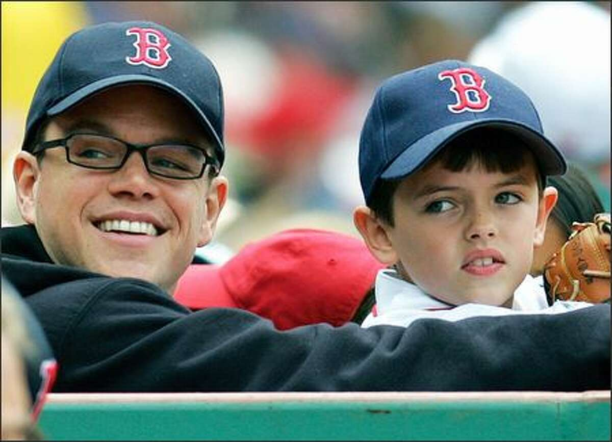 So might we have another one of those handsome Damon fellows on the big screen someday? One can't help but wonder after seeing how adorable Matt's nephew, Jack Damon, looks. The two took in a Red Sox game Sunday in Boston. And you don't need to guess who they were cheering for.