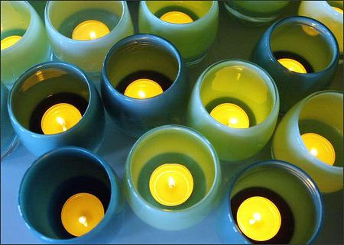 Glassybabies come in more than 50 colors, such as pine needle and Seattle sunset, and can be used as votives, vases or drinking glasses.