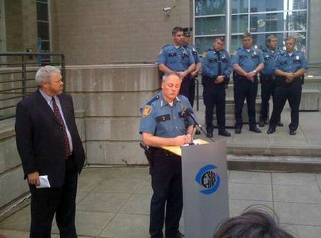 Seattle Mayor Mike McGinn, left, and Seattle Police Chief John Diaz.  The mayor's office has accused City Attorney Pete Holmes with undercutting Diaz in negotiations with the Justice Department.  Photo: Casey McNerthney, Seattlepi.com / seattlepi.com