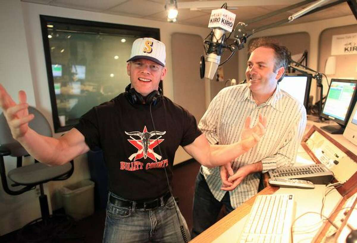 KIRO-FM radio talkshow hosts Don O'Neill and Ron Upshaw shown in their studio in Seattle on Tuesday.