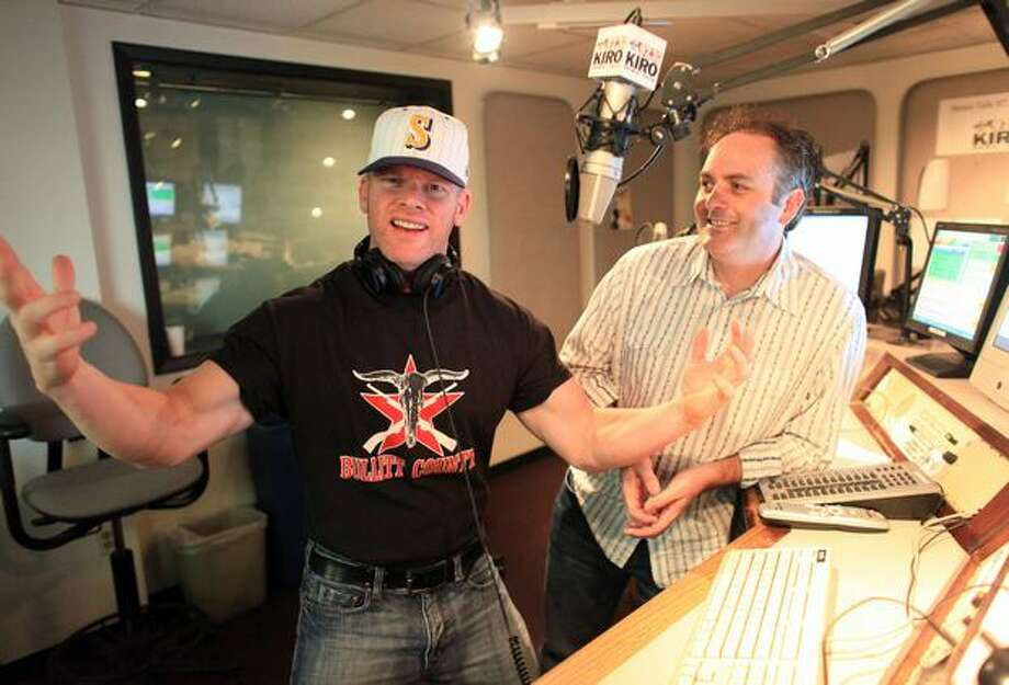 KIRO-FM radio talkshow hosts Don O'Neill and Ron Upshaw shown in their studio in Seattle on Tuesday. Photo: Joshua Trujillo, Seattlepi.com / seattlepi.com