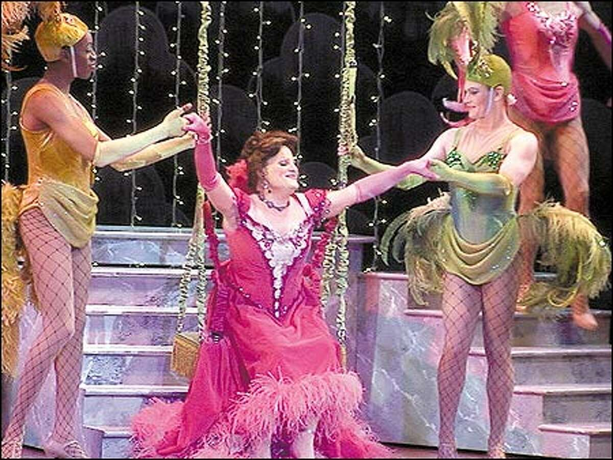 """""""I've always been candid about being gay,"""" says Richard Gray, center, in """"La Cage aux Folles"""" with Christopher Anderson, left, and Eric Brotherson. """"So I have no way of knowing whether or not I've been passed up for roles on that account."""""""