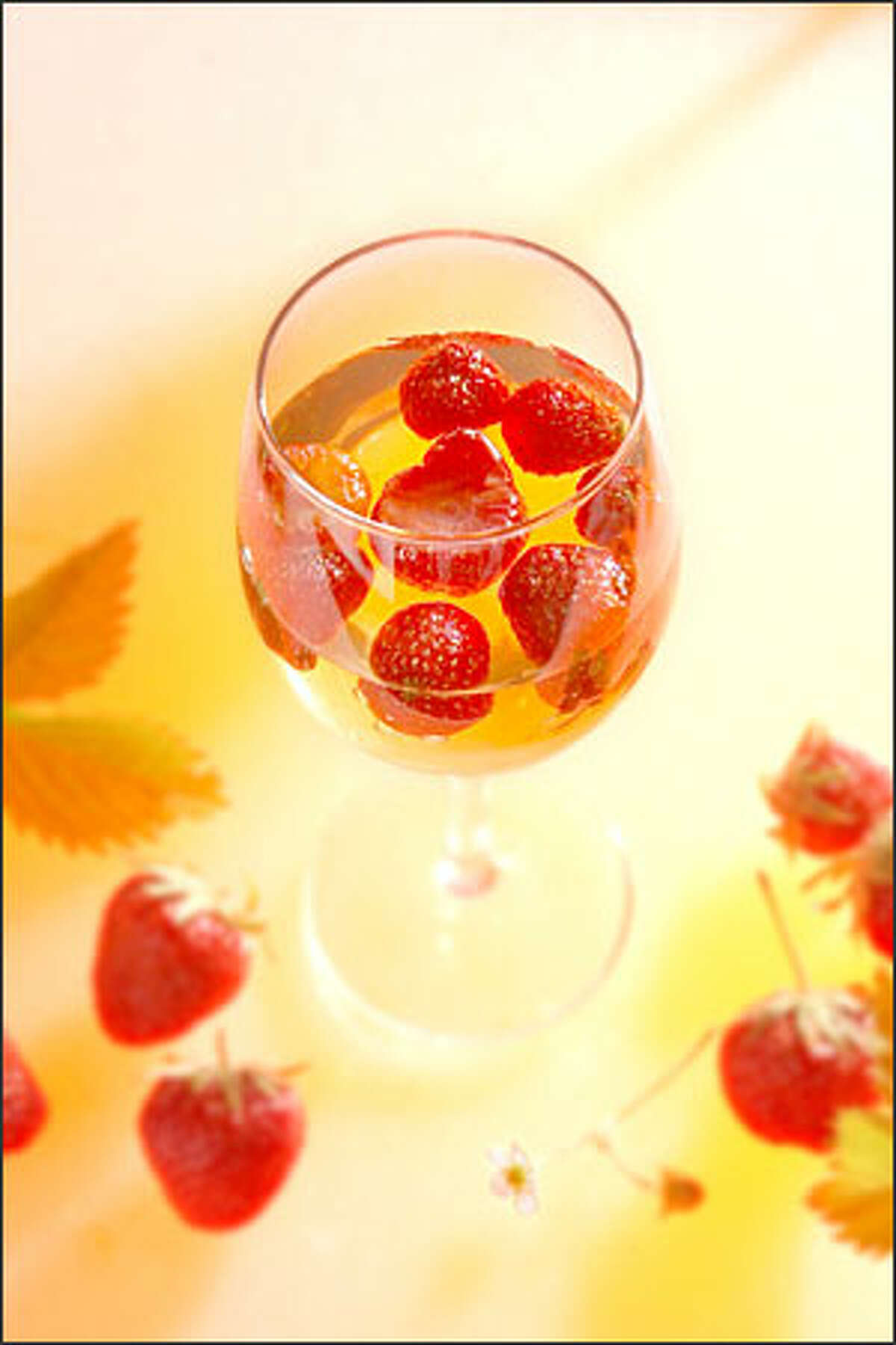 Strawberries in Sauternes Gelee is a wine-based jelly that is served in wine glasses.