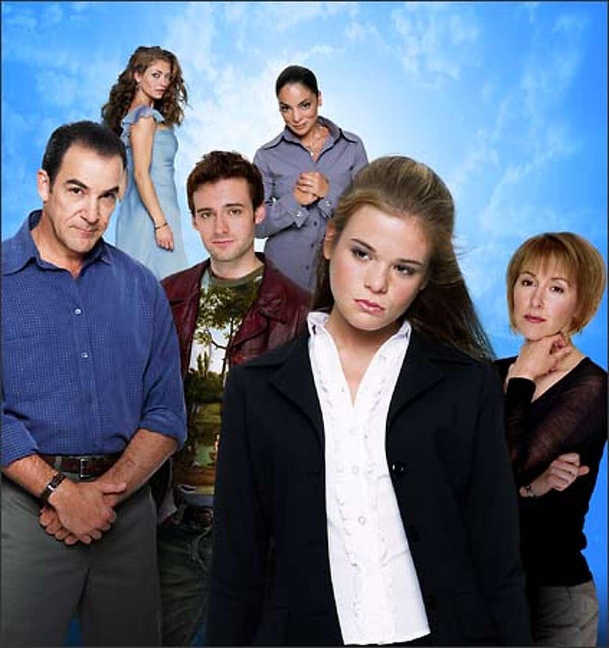 """Dead Like Me"" stars (clockwise from lower left) Mandy Patinkin as Rube, Rebecca Gayheart as Betty, Jasmine Guy as Roxy, Cynthia Stevenson as Joy Lass, Ellen Muth as George and Callum Blue as Mason."