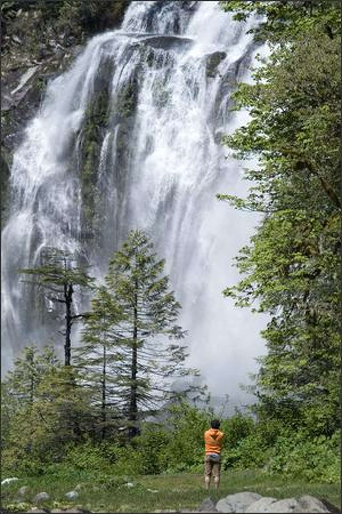 Chatterbox Falls thunders down 120 feet at the head of Princess Louisa Inlet, a 30-mile boat trip up Jervis Inlet from the West Coast Wilderness Lodge.