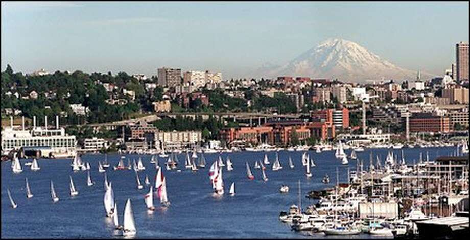 Sailors took advantage of a light wind and sunshine in the weekly sailboat races on Lake Union. Photo: Grant M. Haller, Seattle Post-Intelligencer / Seattle Post-Intelligencer