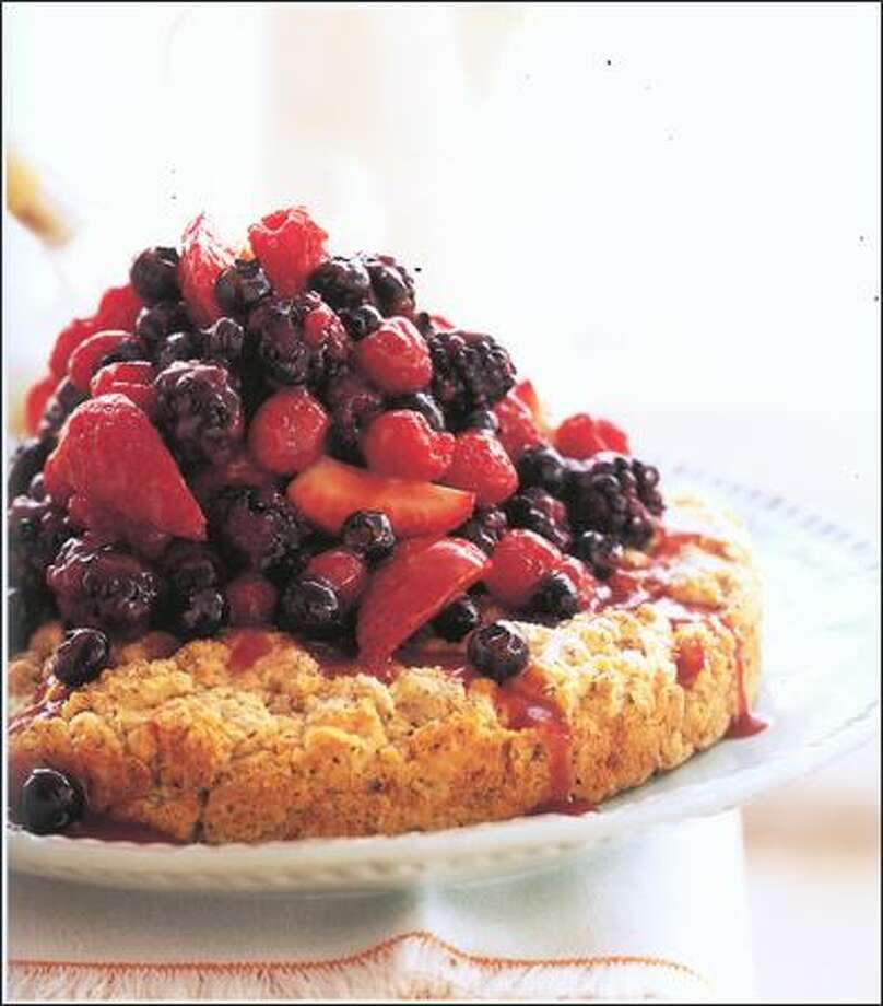 """The name of this recipe, One Big Hazelnut Shortcake With Caramel Berries, from Lori Longbotham's """"Luscious Berry Desserts,"""" pretty much sums it up."""