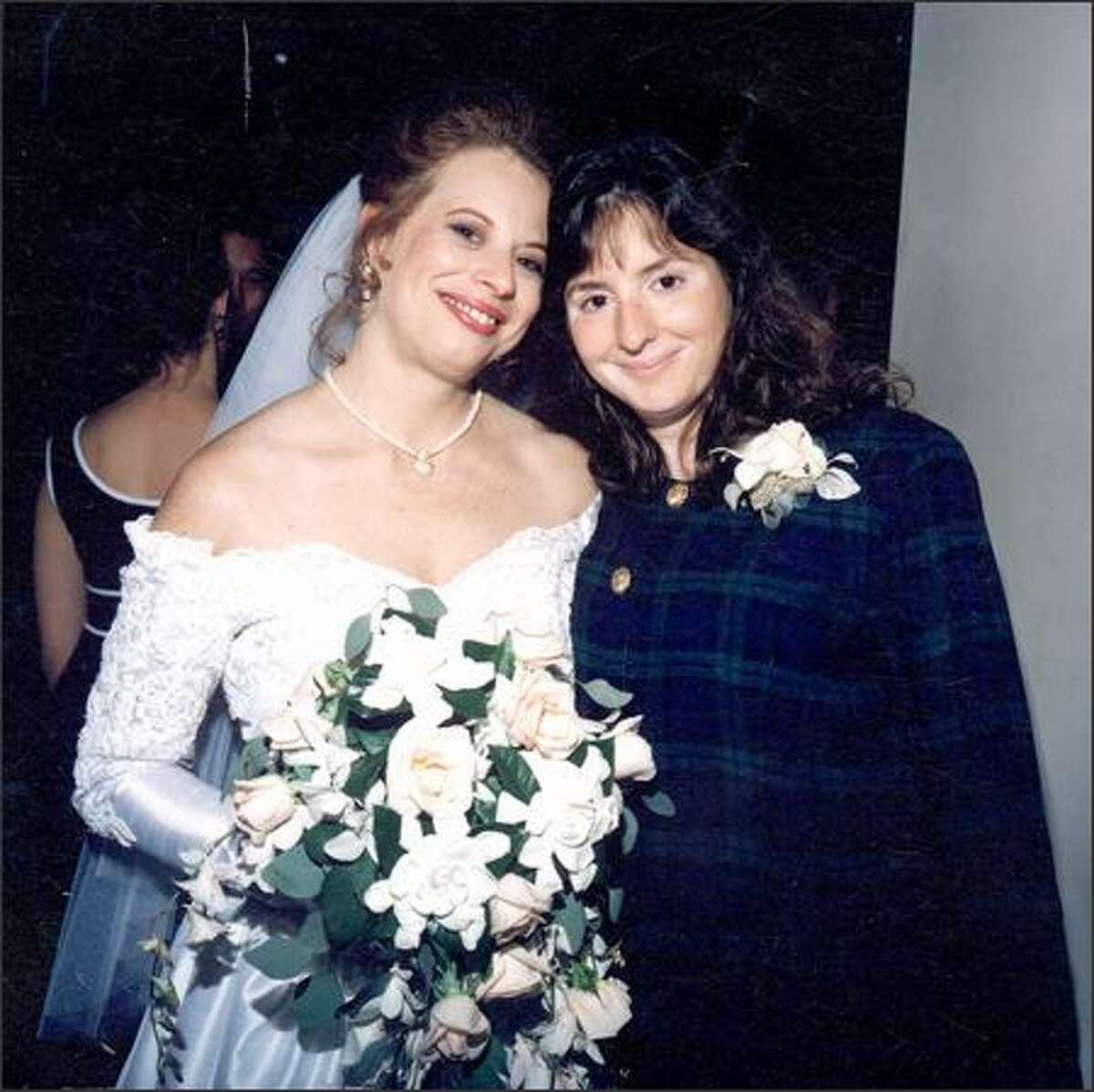 Christine Turner and younger sister Francine Hunter at Christine's wedding in 1995.