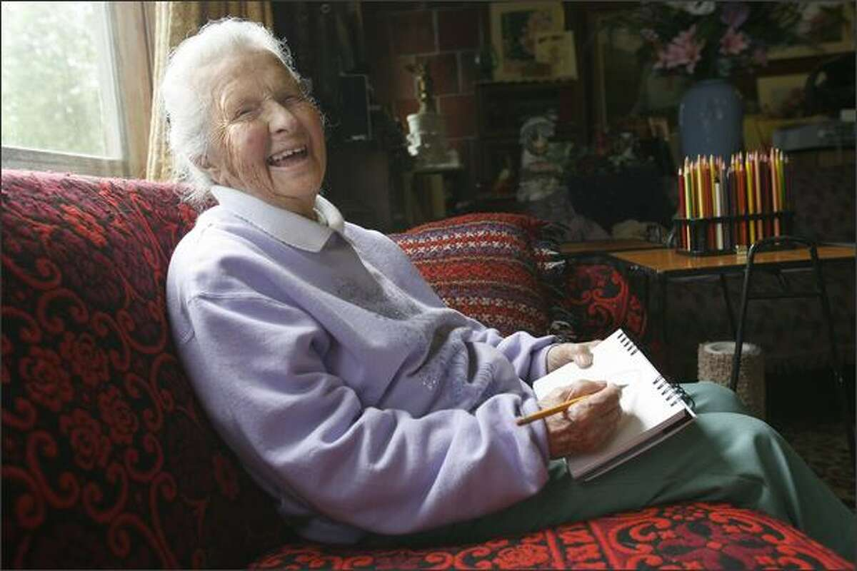 Genevieve Tuck, who received her fine arts degree from the University of Washington in 1929, is still creating art.
