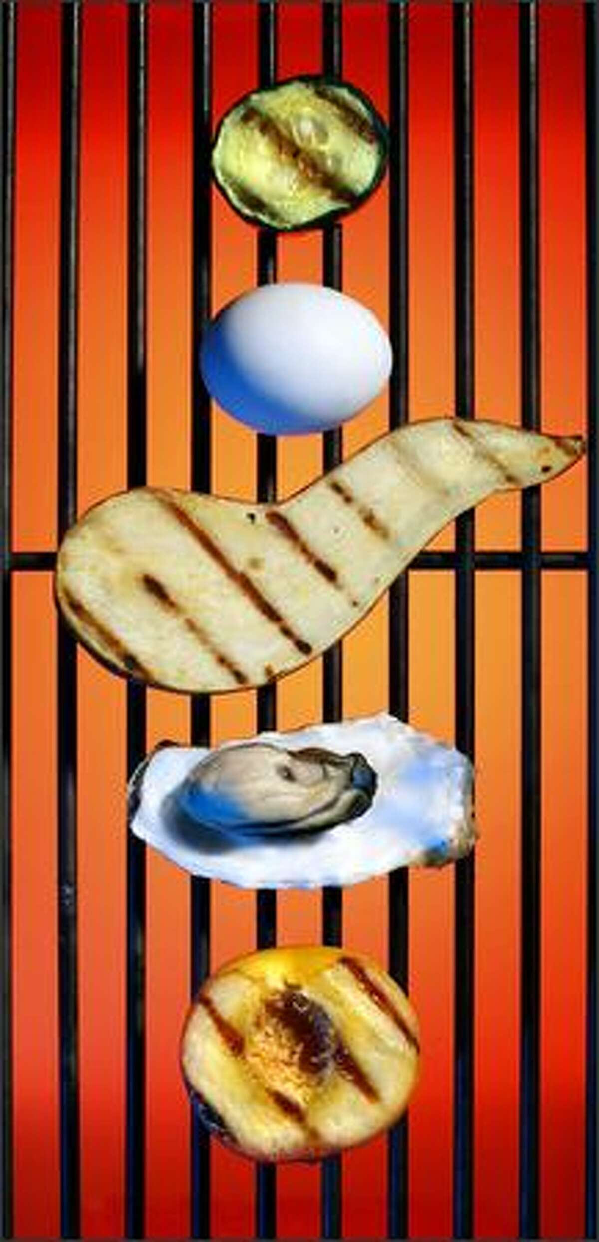 Grilling can be a delicious way to prepare food that is normally cooked in other ways, or not at all. From top, cucumber, an egg, sweet potato, an oyster and a peach are shown after being grilled.