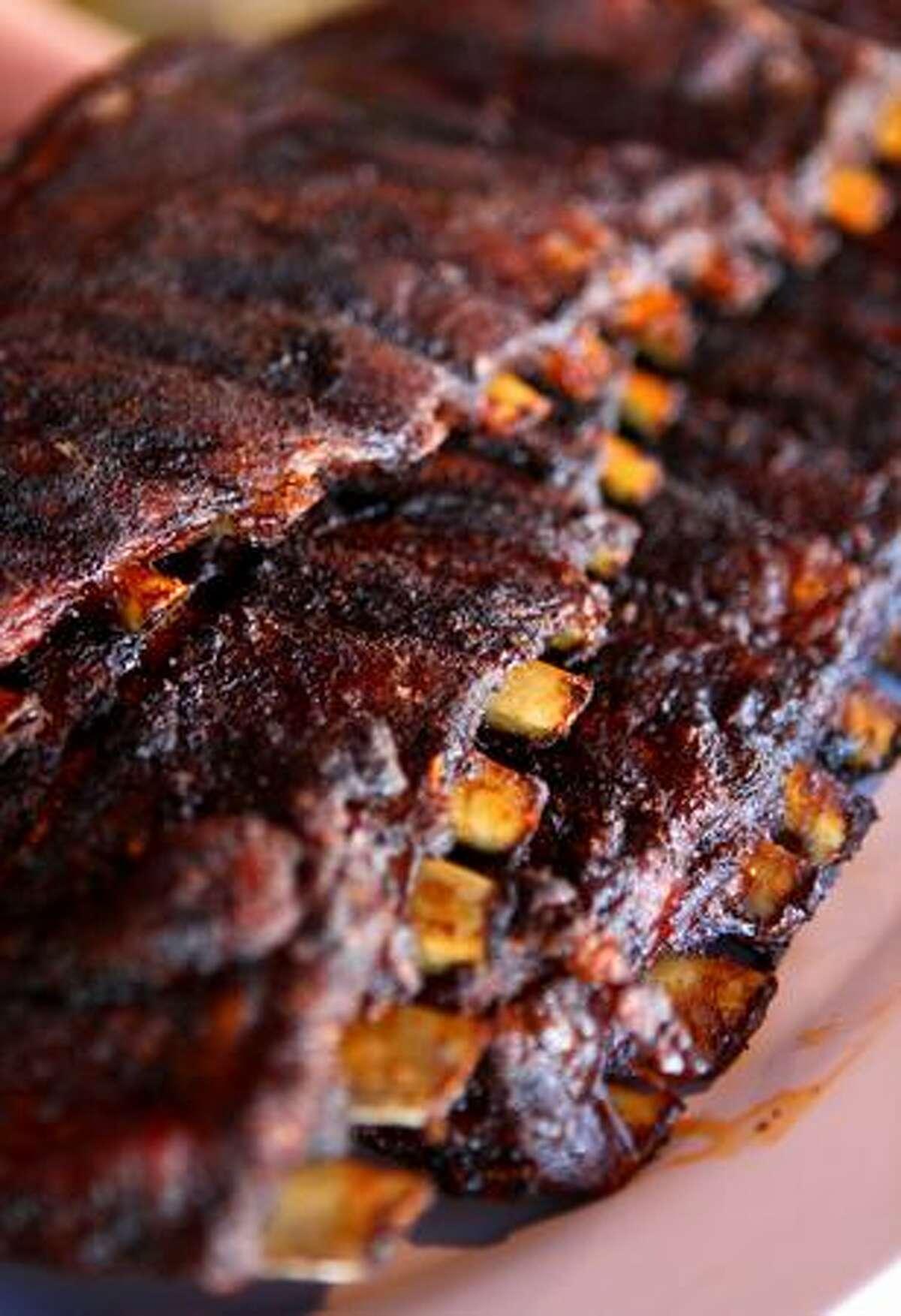 A plate of ribs prepared at Julie Reinhardt's restaurant Smoking Pete's BBQ.