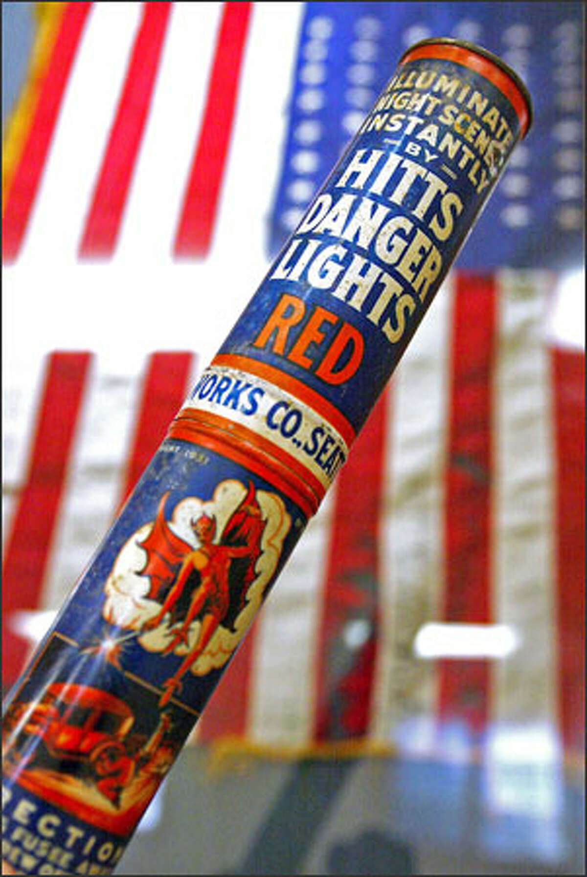 A flare produced by the Hitt Fireworks Co. is on display at the Columbia City Historical Society, along with other artifacts from what once was the largest fireworks manufacturer on the West Coast.