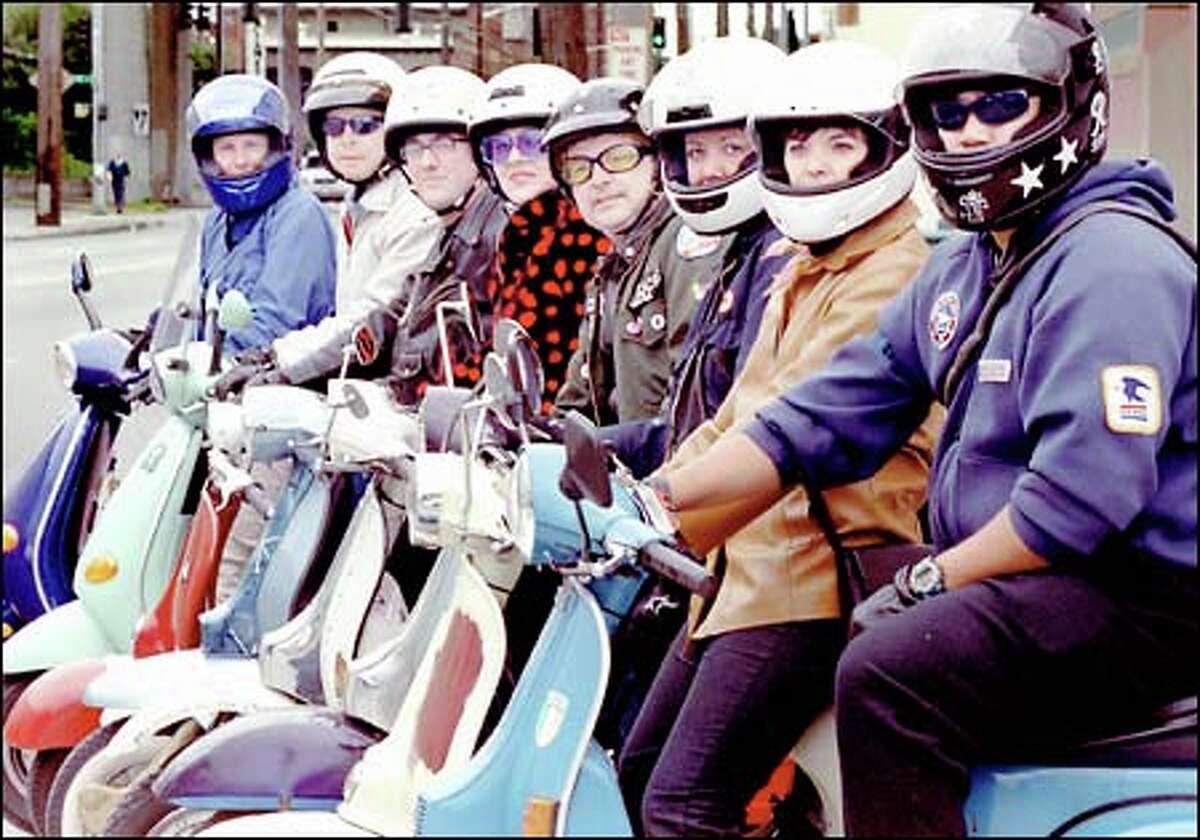 They love the easy riding: from left, Jean Fukuda, Ed Rhine, Chip Doring, Carrie Gordon, Kurt Geissel, Jen Carlton, Julie Goodrich and Paul Felix.