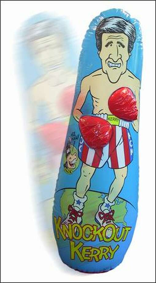 If the right wing's your thing, the Knockout Kerry punching bag lets you take physical political action. The gloves squeak when hit.