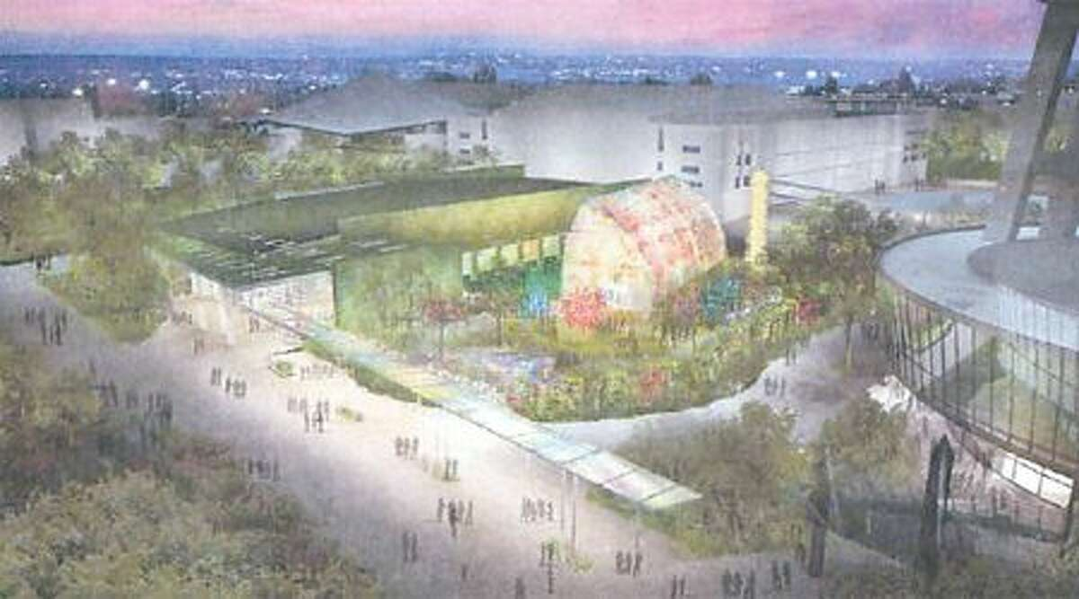 A rendering of the Chihuly exhibit for Seattle Center.