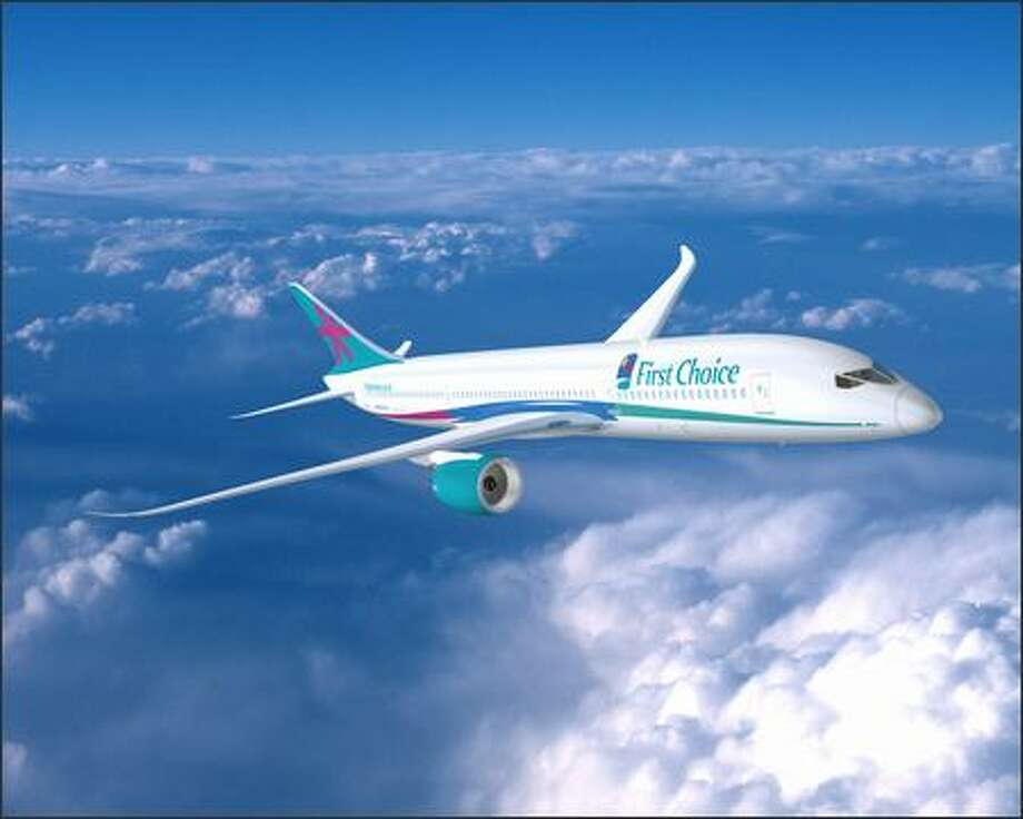 Boeing has announced 10 orders of the 7E7 worth $1.2 billion from two European charter airlines -- Britain's First Choice and Italy's Blue Panorama. Photo: The Boeing Company / The Boeing Company