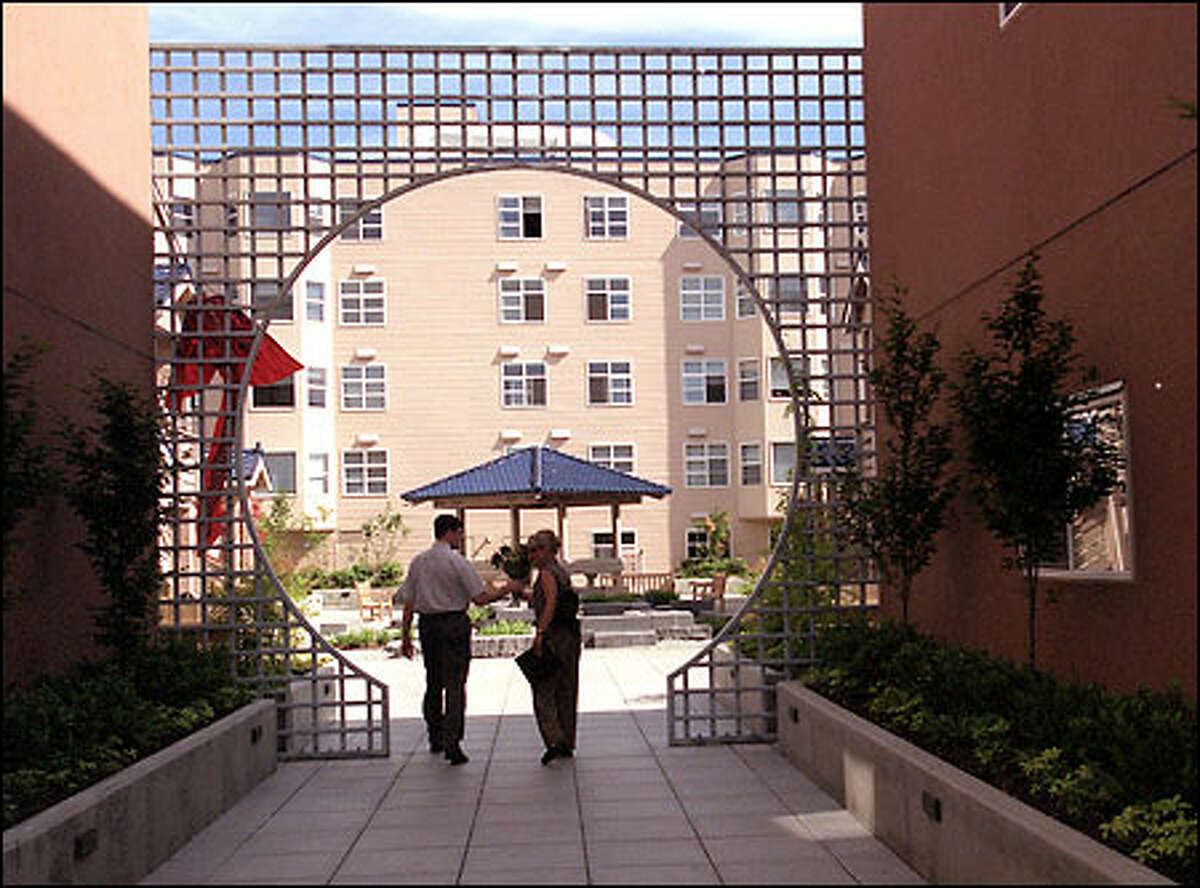 A view of Uwajimaya Village Apartments' courtyard. Uwajimaya is as much a tourist destination as an everyday grocery and sundries store for Seattle's Asian community.