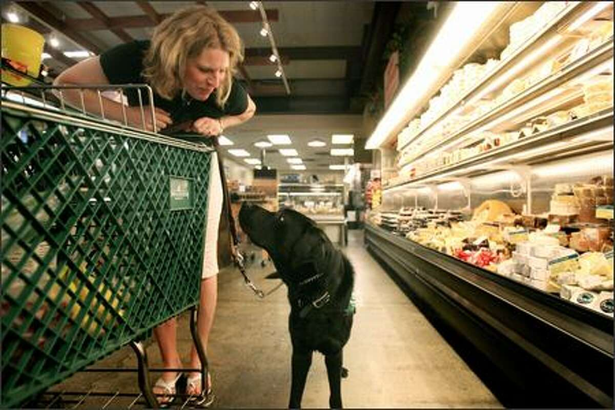 Heidi Hespelt, a group leader with Guide Puppies of Seattle, shops for groceries at Ballard Market with Garth, a 14-month-old Lab. Hespelt is evaluating Garth, who was trained by another family, to gauge whether he's ready for formal guide dog training later this summer. The evaluation is part of a group leader's responsibilites.