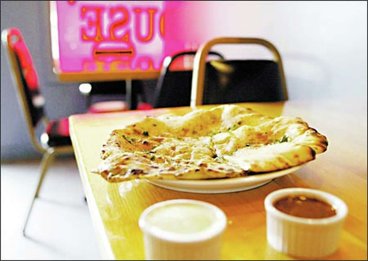 Naan stuffed with spinach and potatoe at the Kabab House is only $3.95.