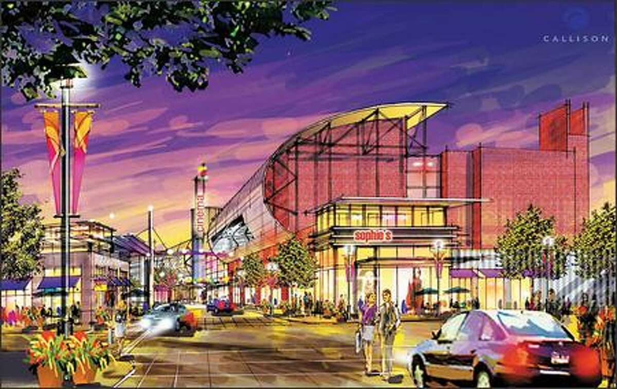 This is an artist's rendering of The Landing, a development that would include residential, retail and a movie theater on former Boeing Co. land in Renton. (CALLISON ARCHITECTURE INC.)