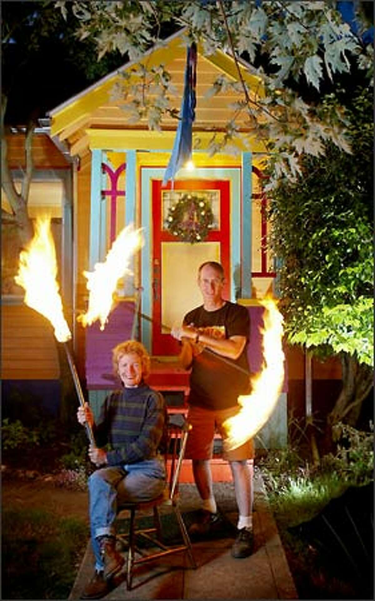 Cirque de Flambe performance artists Norma Baum and husband Maque Davis painted their Ballard bungalow with confidence as they used six colors.