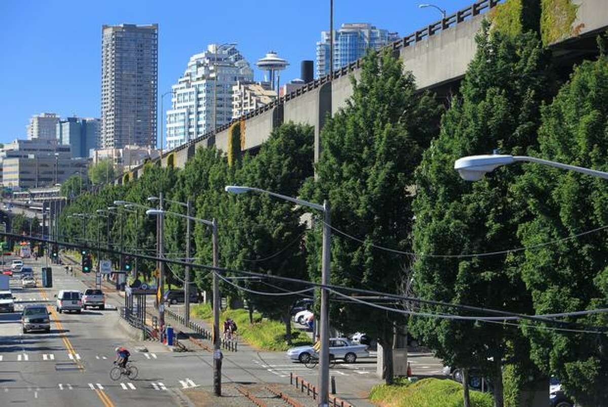 The Alaskan Way Viaduct is buffered by trees in this photo taken Tuesday. An effort is under way to preserve the trees when the structure is torn down and replaced by a tunnel.